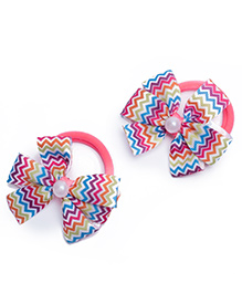 Ribbon Candy Hair Rubber Bands Chevron Bow Appliques Pack Of 2 - Multicolour