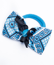 Ribbon Candy Aztec Hair Rubber Bands - Blue & Navy