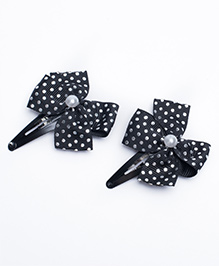 Ribbon Candy Dot Printed Bow Snap Clips Pack Of 2 - Black Silver