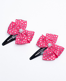 Ribbon Candy Dot Printed Bow Snap Clips Pack Of 2 - Pink Silver