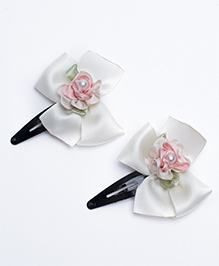 Ribbon Candy Satin Snap Clips Pack Of 2 - Off White