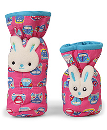 1st Step Bottle Covers Rabbit Motif & Car Print Pink Pack Of 2 - Fits Upto 240 Ml & 120 Ml Each