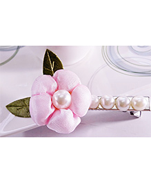 Sugarcart Flower With Leaves & Pearls On Aligator Clip - Pink