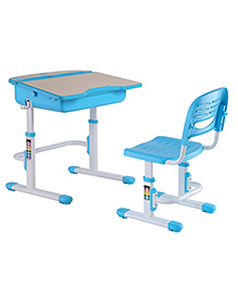 Kidomate Table & Chair With Wooden Finish & Height Adjustment - Blue