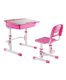 Kidomate Table & Chair With Wooden Finish & Height Adjustment - Pink