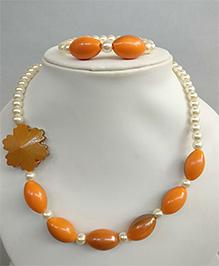 Tiny Closet Pearl Necklace & Bracelet Set - Orange