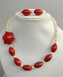 Tiny Closet Pearl Necklace & Bracelet Set - Red
