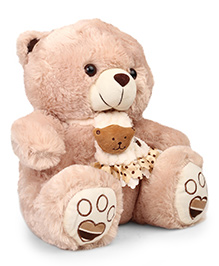 Starwalk Teddy Bear Soft Toy With Muffler Embroidery Honey Brown - Height 35 Cm