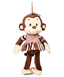 Starwalk Monkey Plush Soft Toy In Dress With Loop Brown - Height 24 Cm