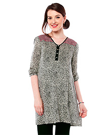 Nine Maternity Wear Tunic With 3/4th Sleeves - Black