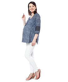 Nine Printed Maternity Blouse With 3/4th Sleeves - Blue