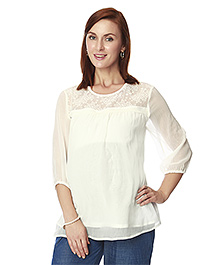 Nine Three Fourth Sleeves Maternity Blouse - Off White