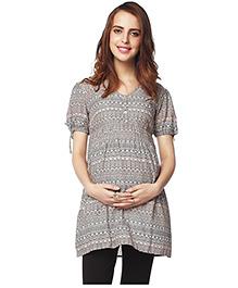 Nine Half Sleeves Printed Maternity Tunic - Grey