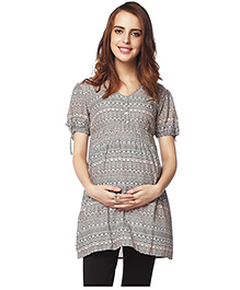 Nine Half Sleeves Printed Maternity Tunic - Grey