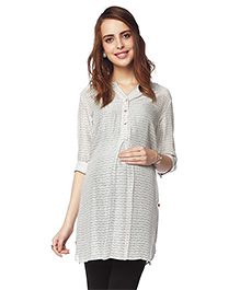 Nine Three Fourth Sleeves Maternity Tunic - Off White