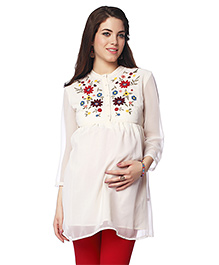 Nine Full Sleeves Maternity Tunic Floral Design - White
