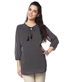 Nine Three Fourth Sleeves Maternity Blouse Geometric Print - Black & Cream