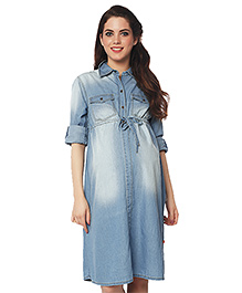 Nine Maternity Full Sleeves Denim Dress - Blue