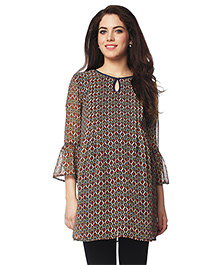 Nine Three Fourth Bell Sleeves Maternity Tunic Printed - Multi Color