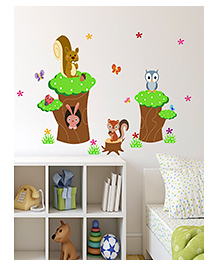 Asian Paints Squirrel Rabbit & Owl Wall Sticker - Green Brown