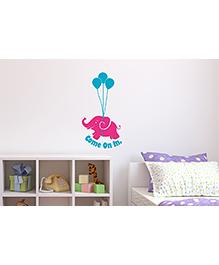 Asian Paints Door Cute Elephant Wall Sticker - Pink Blue