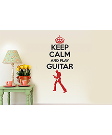 Asian Paints Keep Calm Quotes Play Guitar Wall Sticker - Black Red