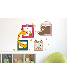 Asian Paints Animal Frames Wall Sticker - Multi Color