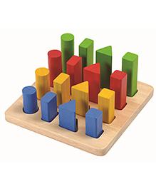 Plan Toys Wooden Geometric Peg Board Shape Sorter Pack Of 16 Pieces - Multicolour