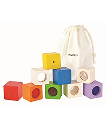 Plan Toys Wooden Sensory Blocks Multicolour - Pack Of 9