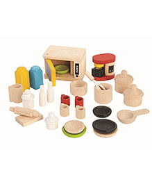 Plan Toys Wooden Kitchen Set Pack Of 27 Pieces - Multicolour