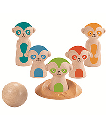 Plan Toys Wooden Meerkat Bowling Set Multicolour - Pack Of 6 Pieces