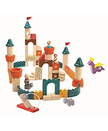 Plan Toys Wooden Fantasy Blocks Multi Colour - 60 Pieces