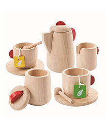Plan Toys Wooden Tea Set - Red & Beige