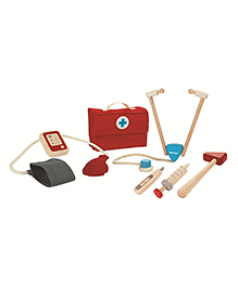 Plan Toys Wooden Doctor Set - Red & Beige