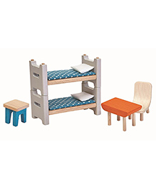 Plan Toys Wooden Children Room Doll House Furniture Set - Multicolour