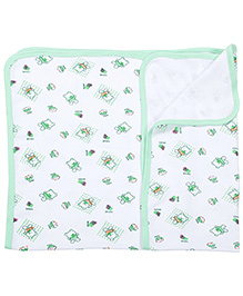 Tinycare Baby Towel With Doll Print - Green