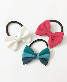 Knotty Ribbons Set Of Three Mix Bow Hair Ties - White Pink & Blue