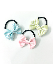 Knotty Ribbons Set Of Three Stripes Bow Hair Ties - Green Pink & Blue