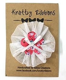 Knotty Ribbons Net Flower Applique Hair Clip - White