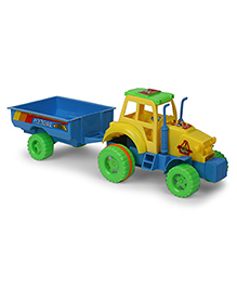 Kids Zone Nissan Tractor Trolley Friction Toy - Yellow Blue