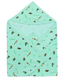 Tinycare Hooded Baby Towel Fish Print - Light Green