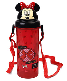 Disney Minnie Mouse Sipper Bottle With Pop Up Straw Red - 400 Ml