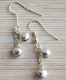 Pretty Ponytails Two Ghungroos Drop Earing - Silver