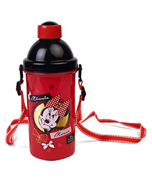 Disney Minnie Mouse Sipper Bottle With Push Button Black Red- 500 Ml