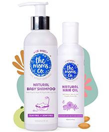 The Moms Co Natural Shampoo And Natural Hair Oil - Pack Of 2