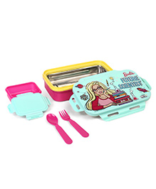 Barbie Steel Insulated Lunch Box With Fork & Spoon - Blue & Pink