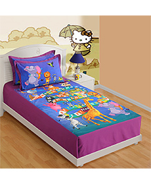 Swayam Numbers Print Single Bed Sheet 1 Pillow Cover - Purple