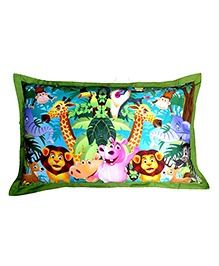 Swayam Digitally Printed Animated Kids Pillow Cover - Multicolour