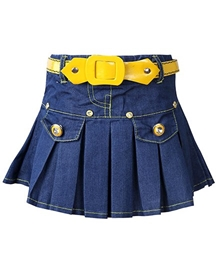 SAPS - Pleated Denim Skirt With Belt