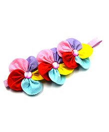 Magic Needles Elastic Headband With 3 Flowers - Pink